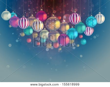 Christmas background with many baubles.