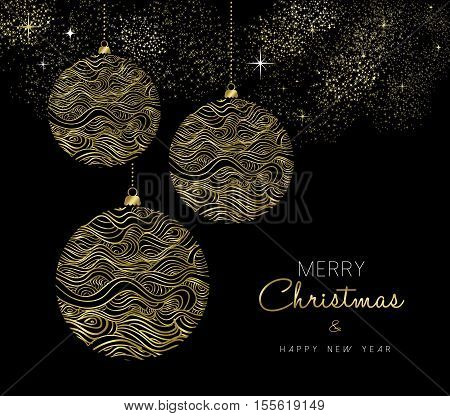 Gold Christmas And New Year Bauble Ornament
