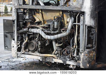 Burnt Public Traffic Bus