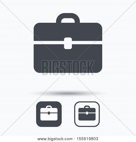 Briefcase icon. Diplomat handbag symbol. Business case sign. Square buttons with flat web icon on white background. Vector
