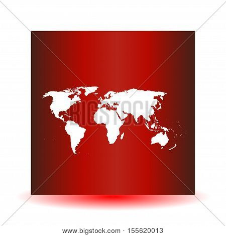 White vector map. World map blank. World map template. World map on a red background. Vector illustration.