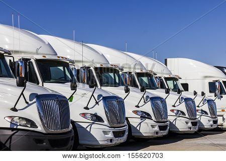 Indianapolis - Circa November 2016: Navistar International Semi Tractor Trailer Trucks Lined up for Sale I