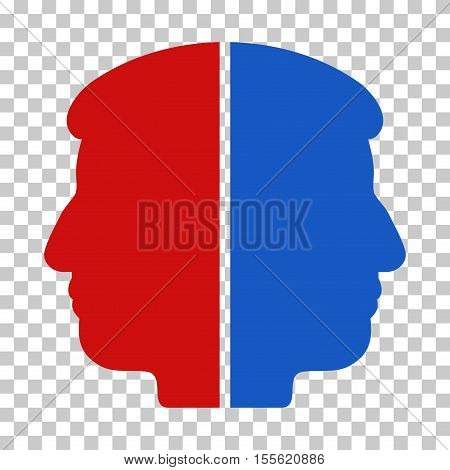 Blue And Red Dual Face toolbar icon. Vector pictogram style is a flat bicolor symbol on chess transparent background.