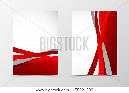 Front and back wavy flyer template design. Abstract template with red and gray bend lines in bright dynamic style. Vector illustration
