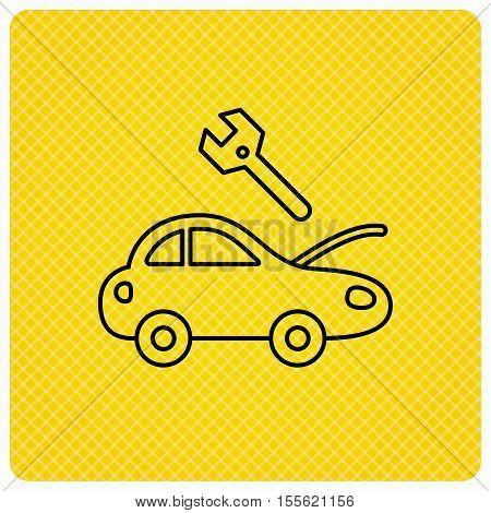 Car service icon. Transport repair with wrench key sign. Linear icon on orange background. Vector