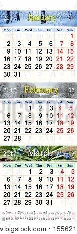 office calendar for January February and March 2017 with pictures of nature. Wall calendar for the first quarter of 2017