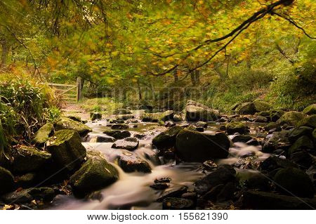 Long exposure of an autumn stream in the Peak District National Park