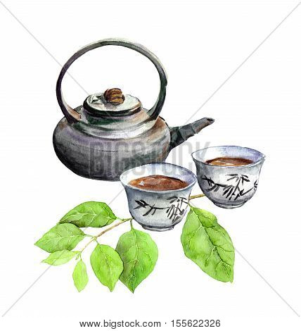 Tea time: asian korean tea pot, tea cup and green leaves. Watercolor