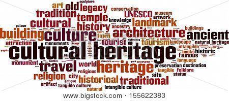 Cultural heritage word cloud concept. Vector illustration