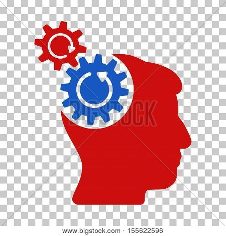 Blue And Red Head Cogs Rotation interface icon. Vector pictogram style is a flat bicolor symbol on chess transparent background.