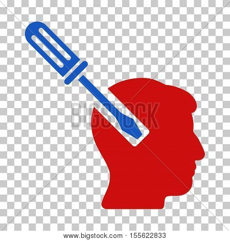 Blue And Red Head Screwdriver Tuning interface toolbar pictogram. Vector pictogram style is a flat bicolor symbol on chess transparent background.