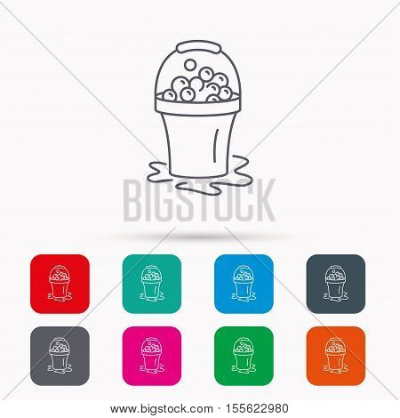 Soapy cleaning icon. Bucket with foam and bubbles sign. Linear icons in squares on white background. Flat web symbols. Vector