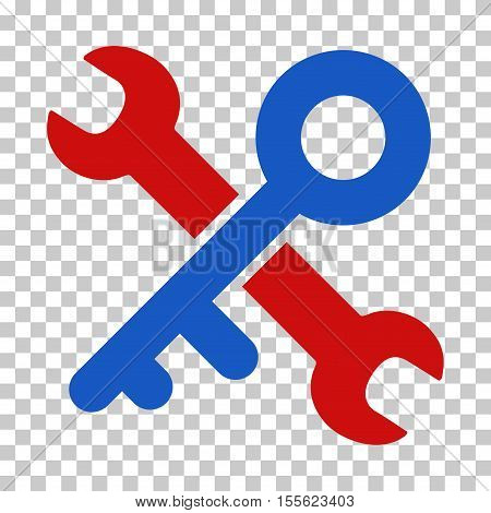 Blue And Red Key Tools interface toolbar pictogram. Vector pictogram style is a flat bicolor symbol on chess transparent background.