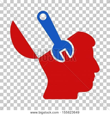 Blue And Red Mind Wrench Surgery interface toolbar icon. Vector pictogram style is a flat bicolor symbol on chess transparent background.