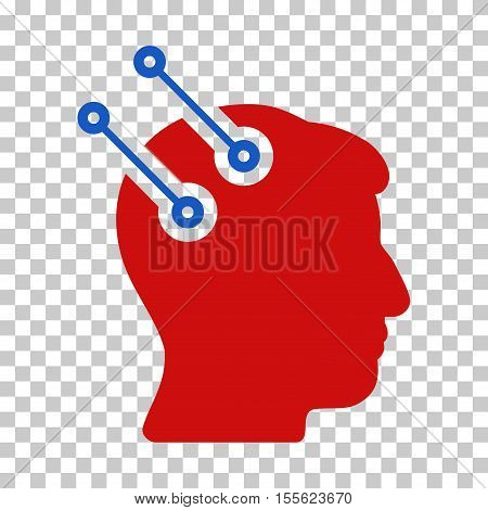 Blue And Red Neural Interface Connectors interface toolbar pictogram. Vector pictograph style is a flat bicolor symbol on chess transparent background.
