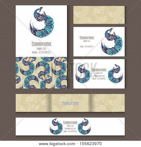 Set of templates for corporate style notebooks credit card business card and invitation card with birds. Vector illustration.
