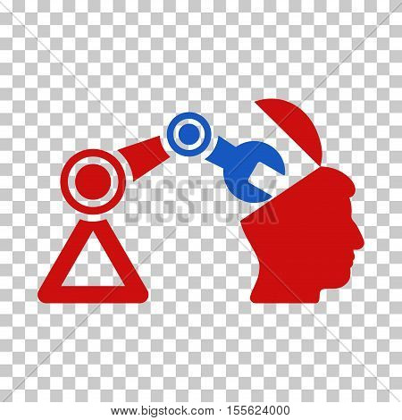 Blue And Red Open Head Surgery Manipulator interface toolbar pictogram. Vector pictograph style is a flat bicolor symbol on chess transparent background.