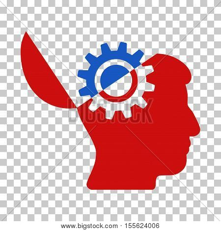 Blue And Red Open Mind Gear interface pictogram. Vector pictograph style is a flat bicolor symbol on chess transparent background.