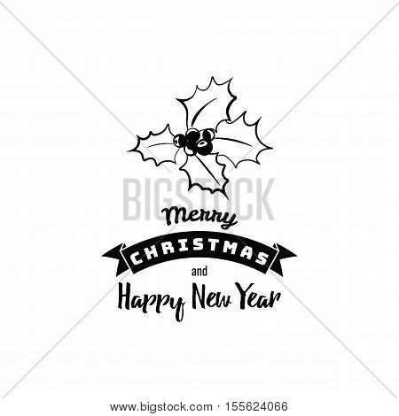 Christmas Greeting Card. Mistletoe Merry Christmas lettering, vector illustration