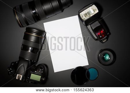 photography concept with dslr camera lense and copyspace