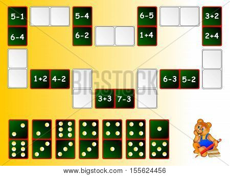 Mathematical exercises for children. Need to solve examples and draw the remaining dominoes at the correct places to close the circuit. Vector image.