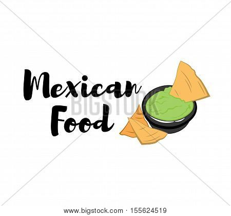 Nachos Mexico Food. Traditional Mexican Cuisine. An Isolated Object. Vector Illustration