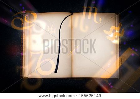 Old magic book with glowing zodiac symbols. Empty page for Your text