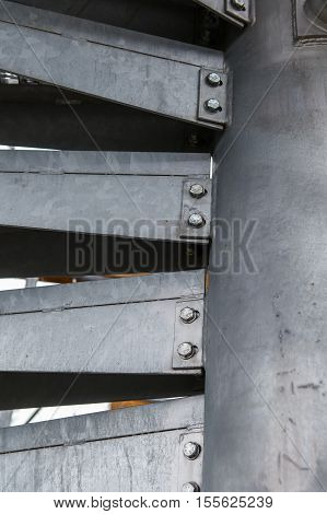 Metal modern spiral staircase details, Industrial technology