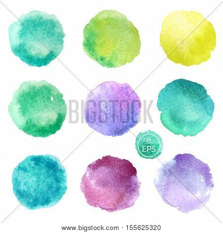 Vector. Set of hand drawn watercolor blots. Hand drawn watercolor blots good for your design, logo, label, print, card, banner. Elements for your design.