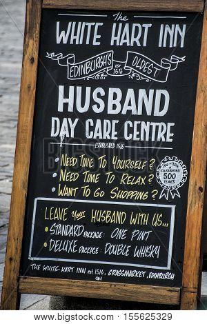 Scotland United Kingdom Edinburgh 14.0 5.2016 - The White Hart inn Sign Husband Day Care centre