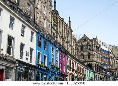 Scotland United Kingdom Edinburgh 14.0 5.2016 -colorful city historic Town Architecture Fassade