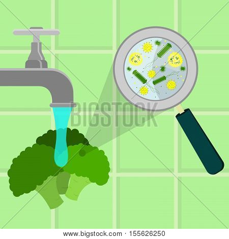 Washing Contaminated Broccoli