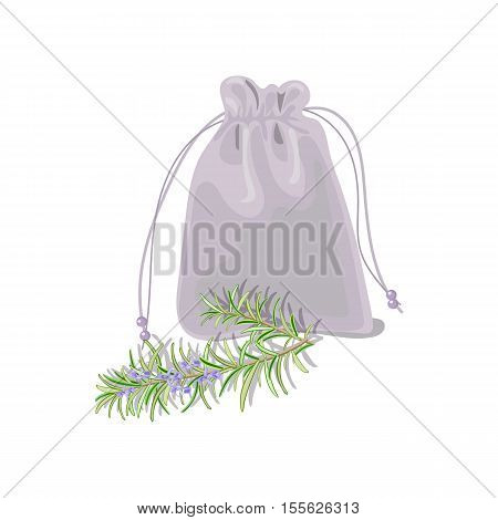Textile sachet with herbs. isolated realistic. sac witk knot