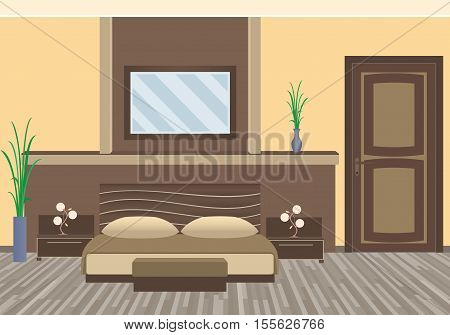 Modern bedroom interior with houseplants furniture. Flat style vector illustration