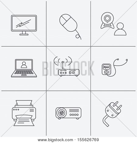 Printer, wi-fi router and projector icons. Monitor, video chat and webinar linear signs. Electric plug, pc mouse and music player icons. Linear icons on white background. Vector