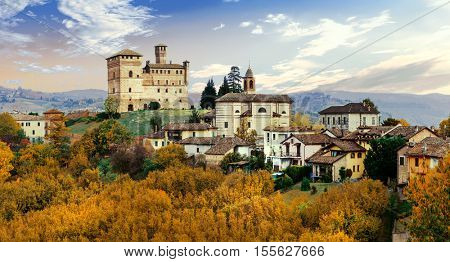 Castello di Grinzane and village - one of the most famous vine region of Italy