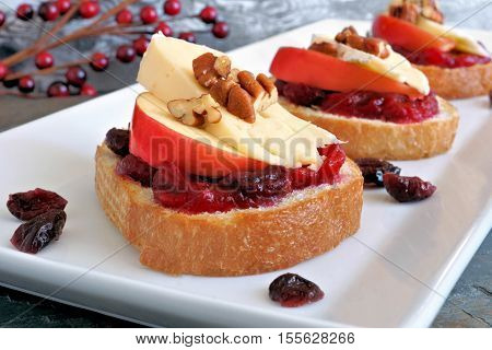 Crostini Appetizers With Cranberry Sauce, Apples, Brie And Pecans On White Plate