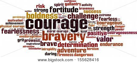 Courage word cloud concept. Vector illustration on white poster