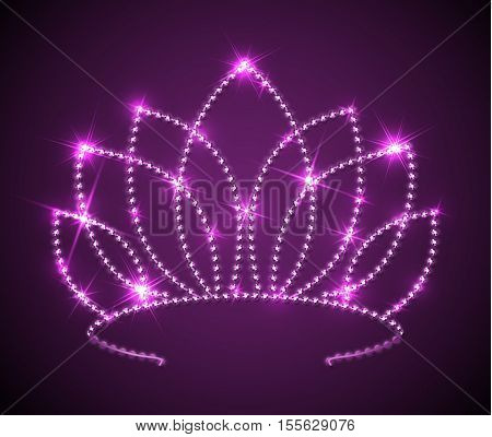 Shiny pink tiara with sparkles - vector diadem illustration, eps10