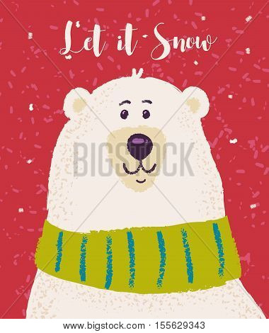 Happy polar bear. Christmas greeting card background poster. Vector illustration. Merry christmas and Happy new year.