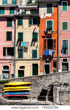 Colored houses in ligurian village of Riomaggiore, Cinque Terre, Italy.