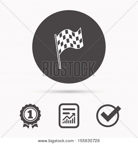 Finish flag icon. Start race sign. Report document, winner award and tick. Round circle button with icon. Vector