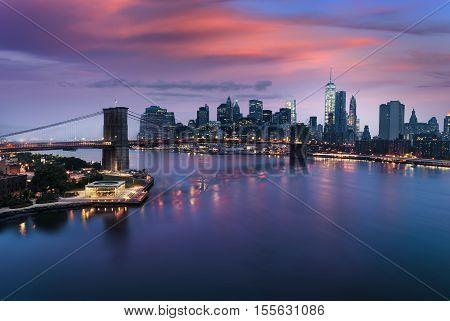 Manhattan and Brooklyn bridge at dusk New York City USA