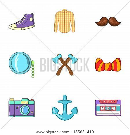 Subculture hipster icons set. Cartoon illustration of 9 subculture hipster vector icons for web