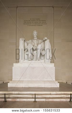 Washington D.C. USA - January 9 2016: The Lincoln Memorial