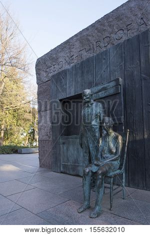 Washington D.C. USA - January 15 2016: The Franklin Delano Roosevelt memorial