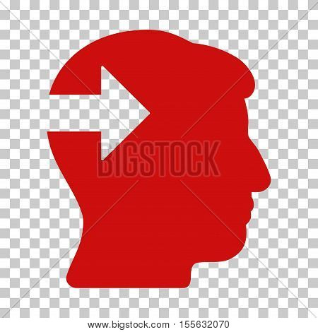 Red Head Plug-In Arrow interface pictogram. Vector pictograph style is a flat symbol on chess transparent background.