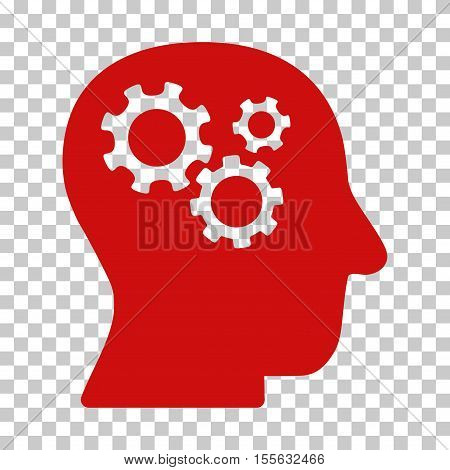 Red Intellect Gears interface icon. Vector pictograph style is a flat symbol on chess transparent background.