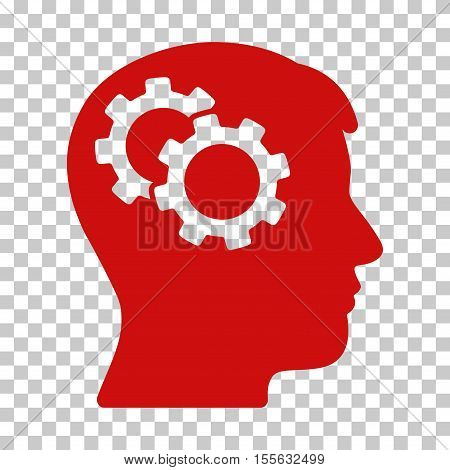 Red Intellect Gears toolbar icon. Vector pictograph style is a flat symbol on chess transparent background.