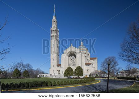 Washington D.C. USA - January 18 2016: The Basilica of the National Shrine of the Immaculate Conception